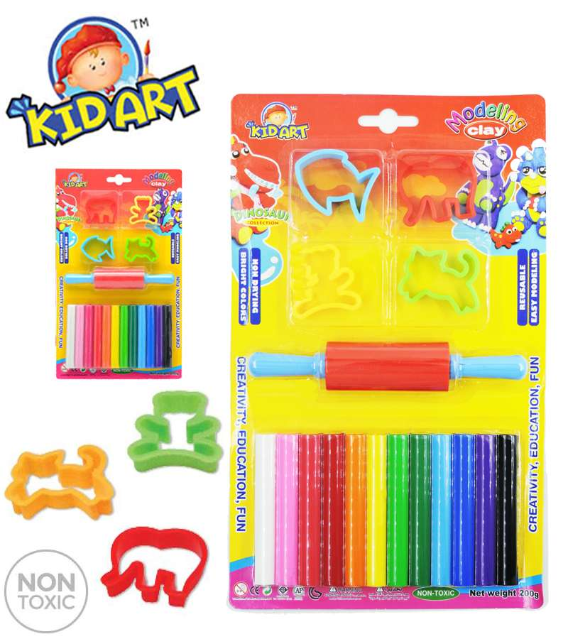 Non Toxic KIDART Dinosaur Collection Modeling Clay 12 COLOR WITH ROLLER & ANIMAL PRESSING CUTTERS  (T200/4MR-DI)