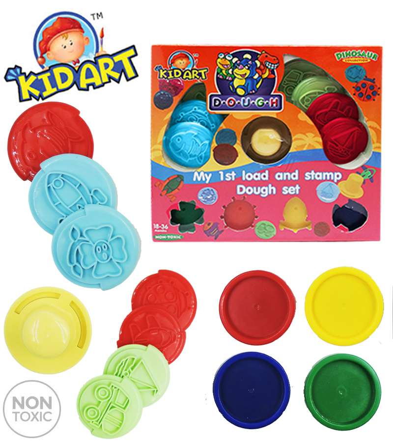 Non Toxic KIDART Dinosaur Collection Modeling Clay My 1st load & Stamp Dough Set(DOP140/LS-DI)
