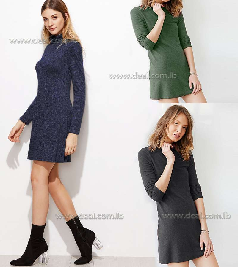 Straight dress with loose fitting turtleneck