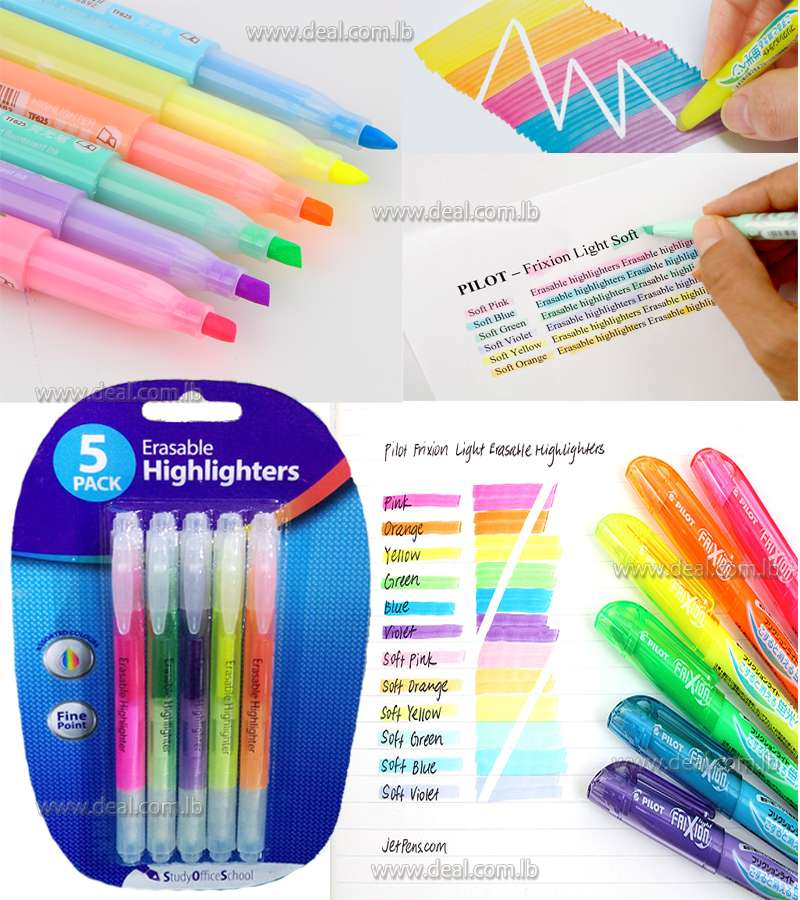 Erasable Highlighters 5 Pack
