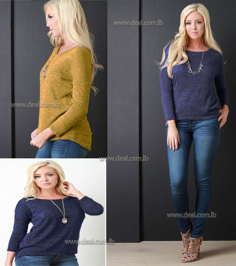 Marled Knit Long Sleeves High Low Sweater Top