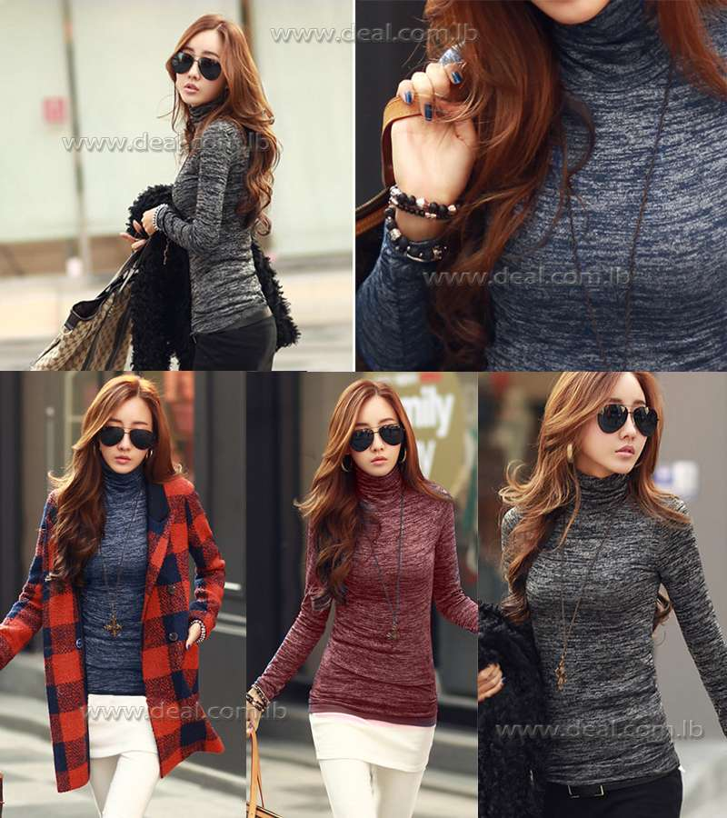 Sweater Slim Upper Solid Color Collar Long Sleeve
