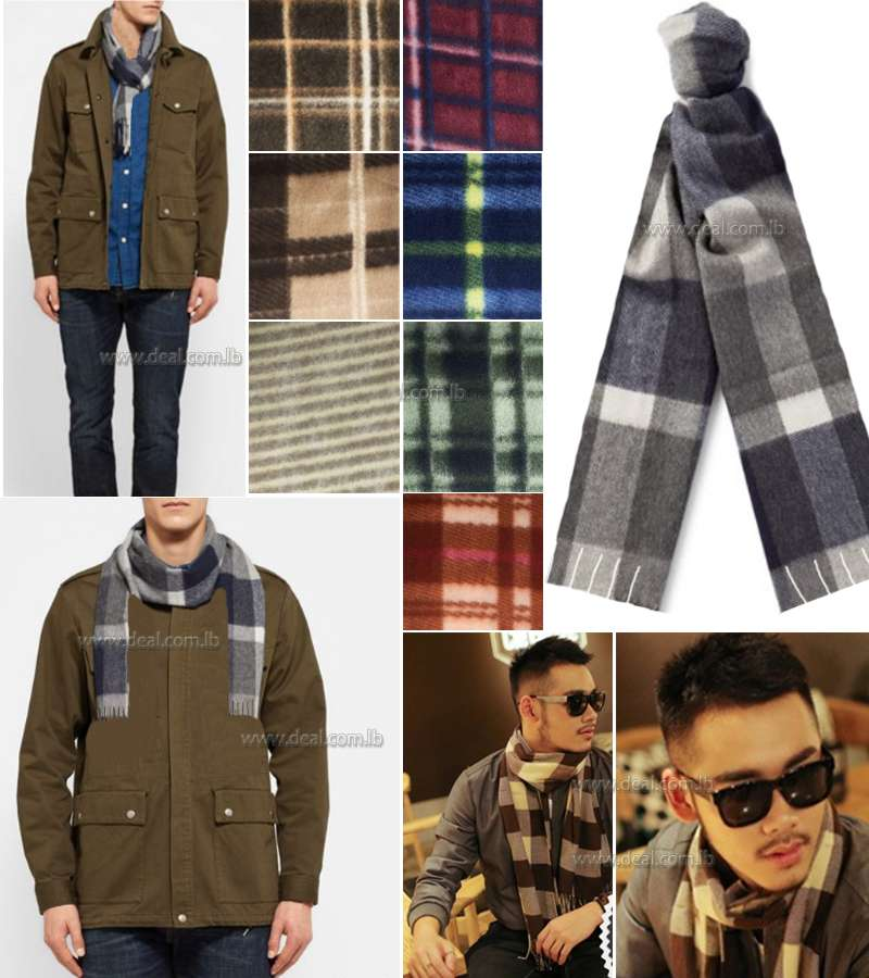 Men Scarves Checked wool Scarf
