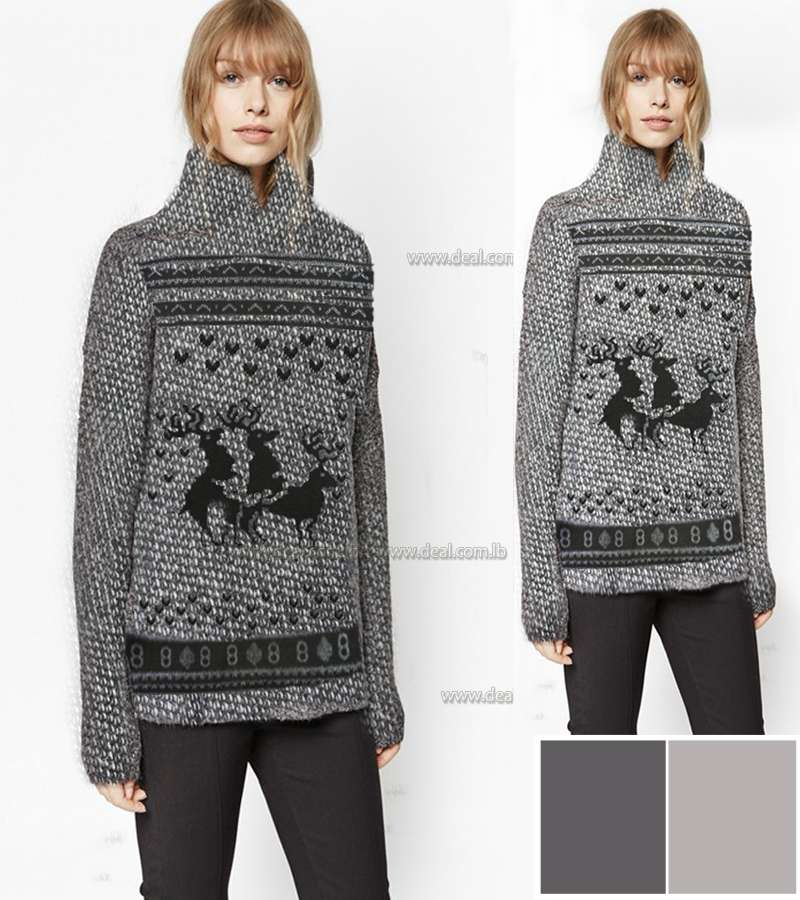 Grey knitted WOOL sweater With christmas figers
