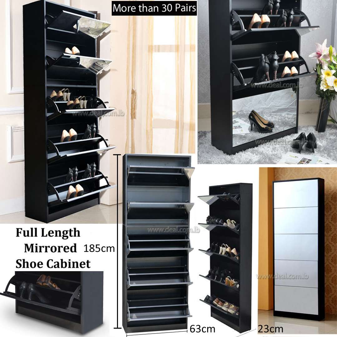 Black Full Length Wooden Shoe Storage Cabinet With 5 Drawers Full Mirror Living Room Furniture