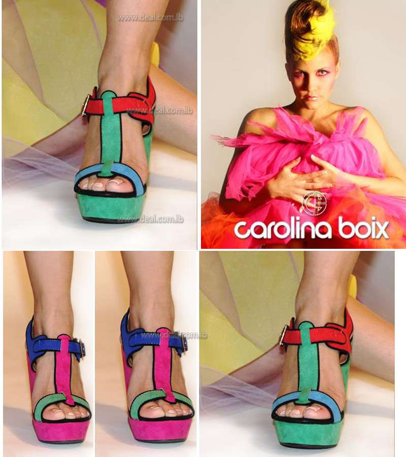MISSGUIDED Colorful Multicolored Carolina Boix Heel Sandal For Women