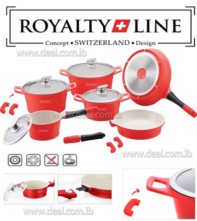 14-Piece Ceramic Coating Cookware Set Red