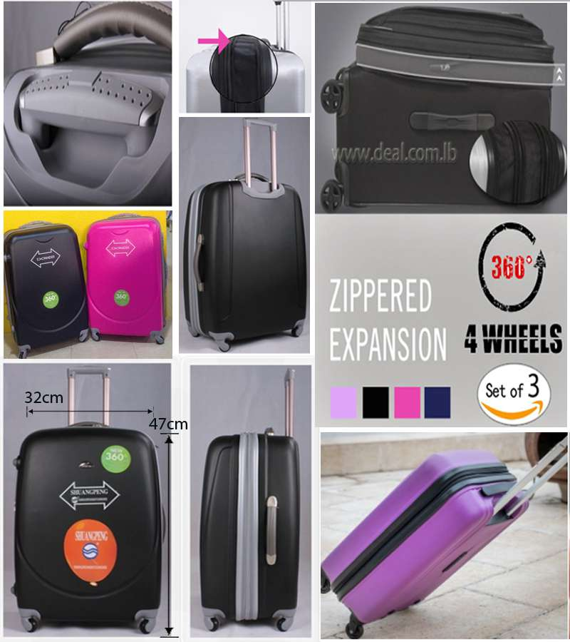 32*47cm small Size 4 Weels 360 degree Zippered Expansion trolley luggage