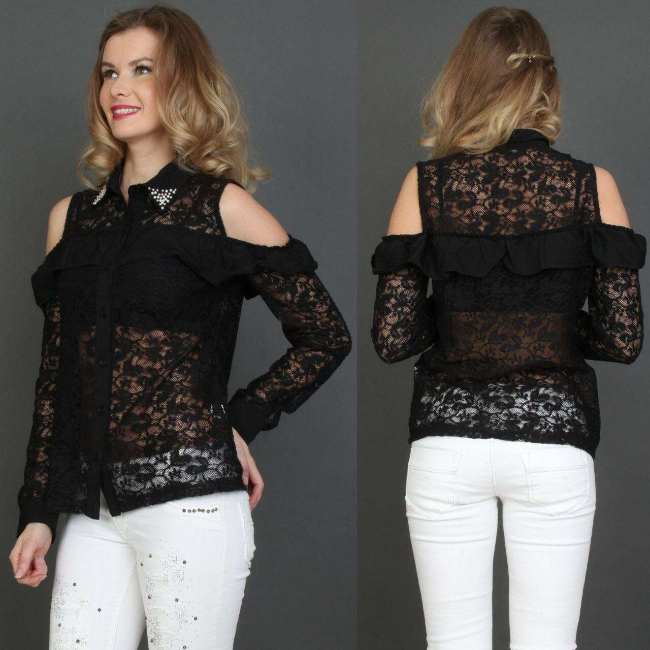 Shoulder Black Chiffon Blouse