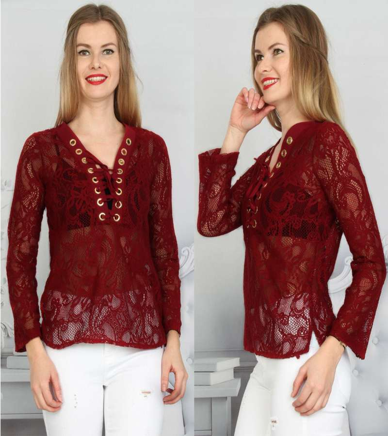 Dark Red Chiffon Blouse