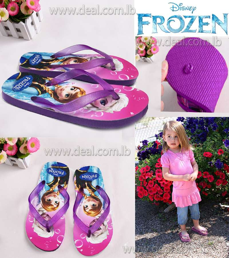 Frozen Slippers Princess Anna Elsa Flip Flops Purple
