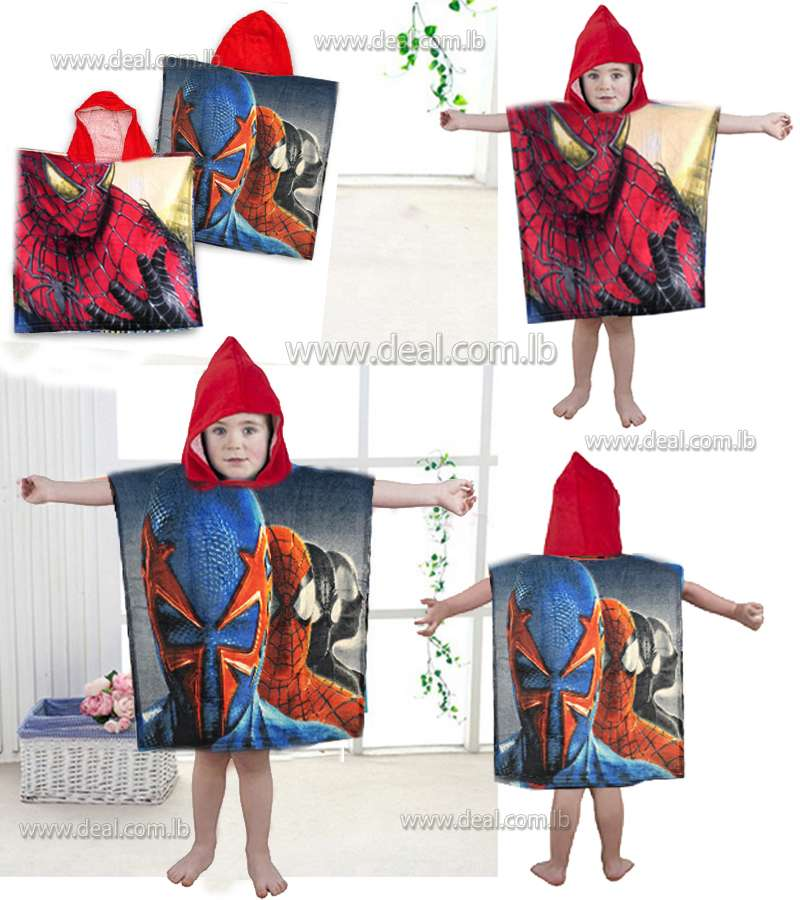 beach poncho kids cotton hooded spiderman