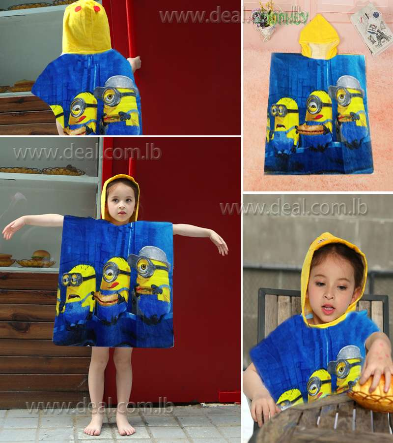 beach poncho kids cotton hooded minnions