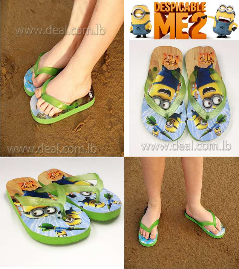 Boys And Girls Minions Slippers shoes Green color