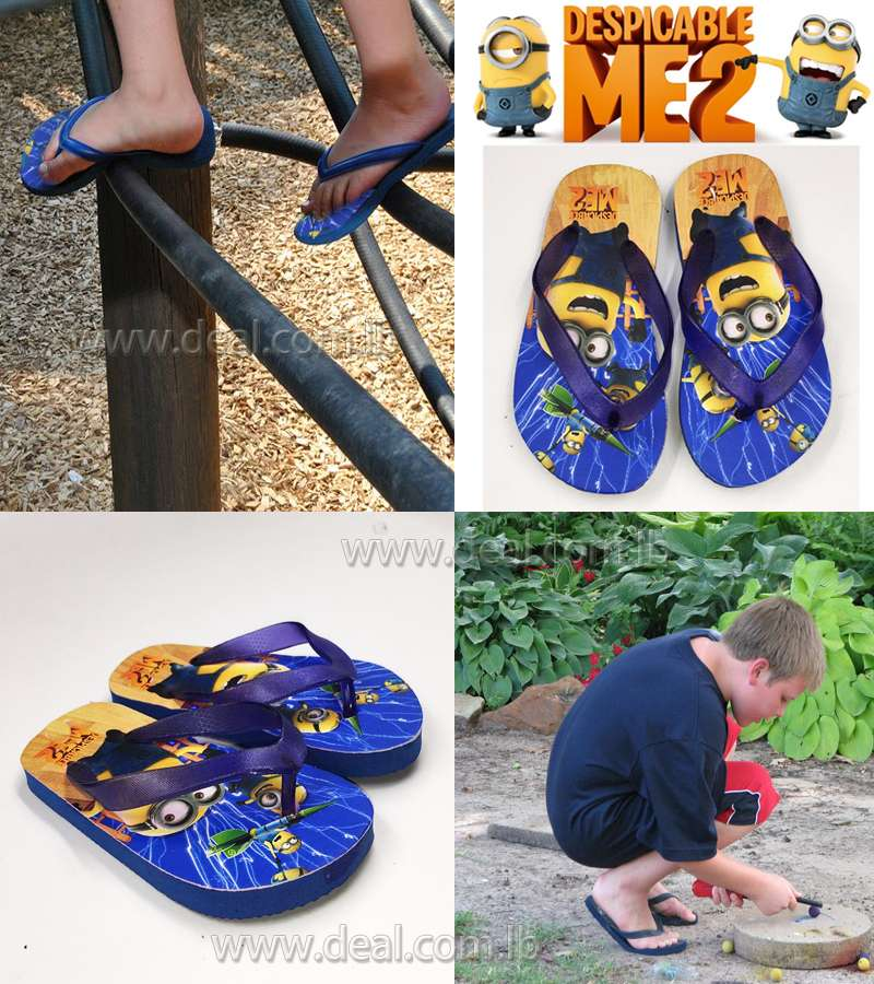 Boys And Girls Minions 2 Slippers shoes Dark Blue color