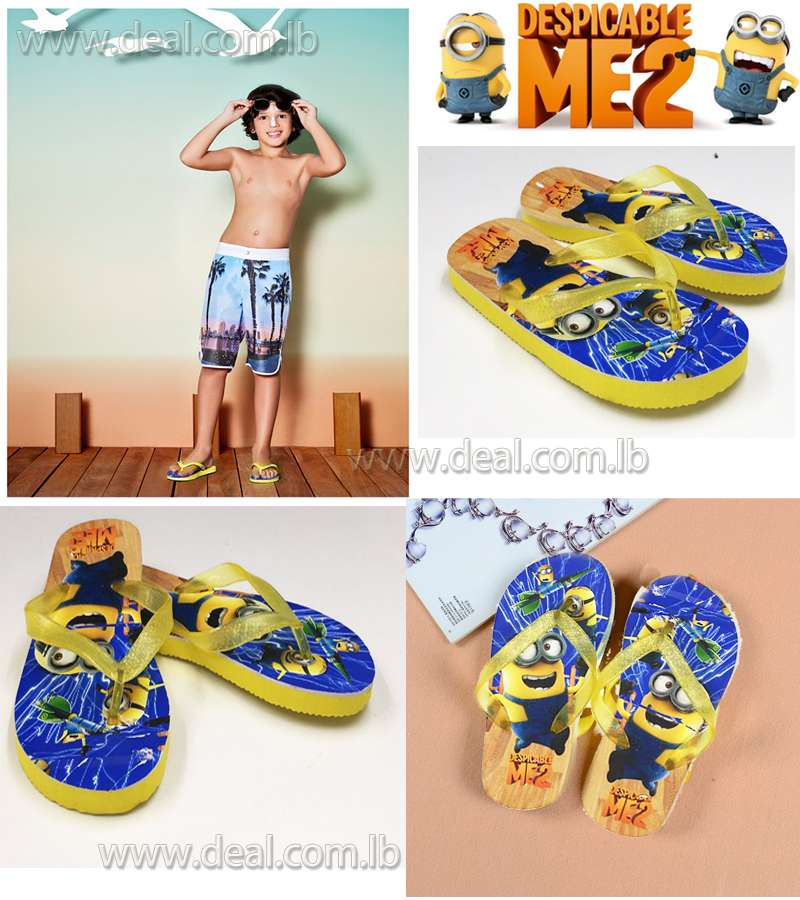 Boys And Girls Minions 2 Slippers shoes Yellow color