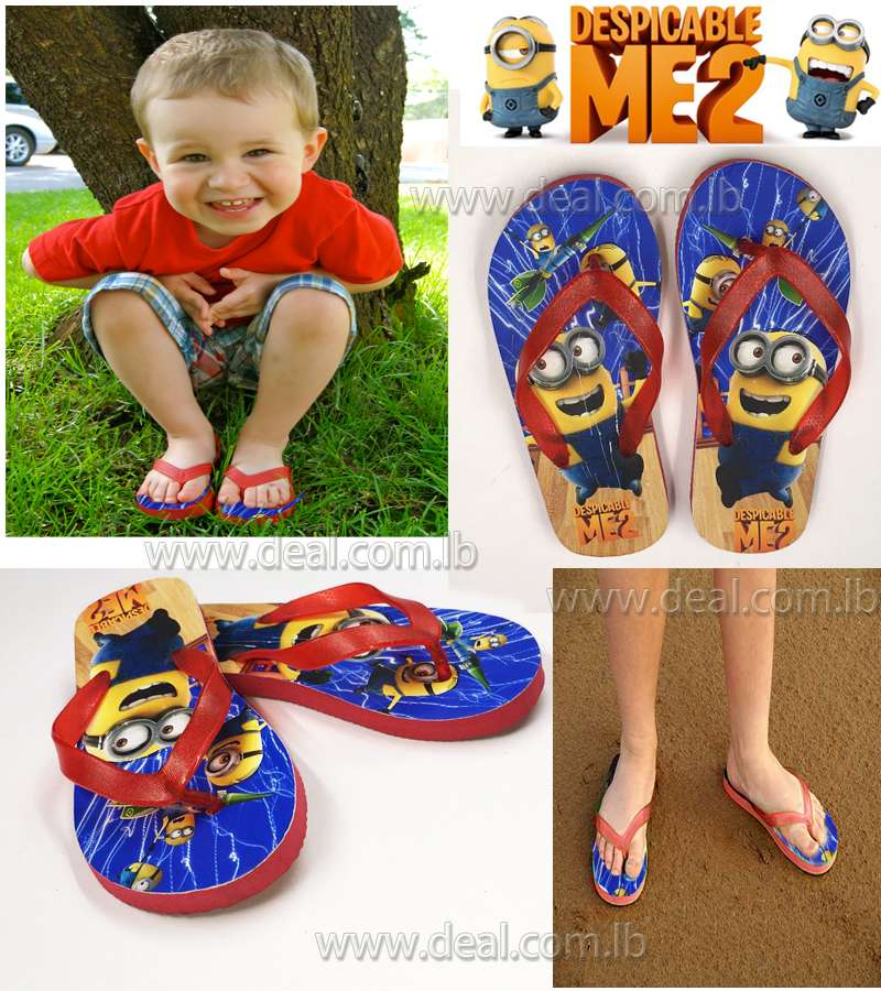 Boys And Girls Minions 2 Slippers shoes Red color