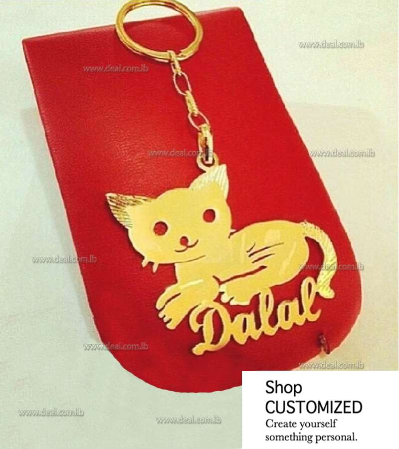 Gold plated customized Cat key chain