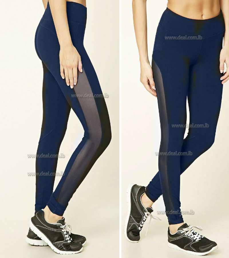 1fc5b3cc796b5 Dark Blue Side Chiffon V Cut Legging Black Yoga Legging Stretch Legging.