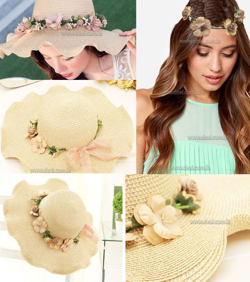 Straw Sun Hats For Women Cap Girls Beach  Floppy Summer Cap For Ladies Straw Flower Long