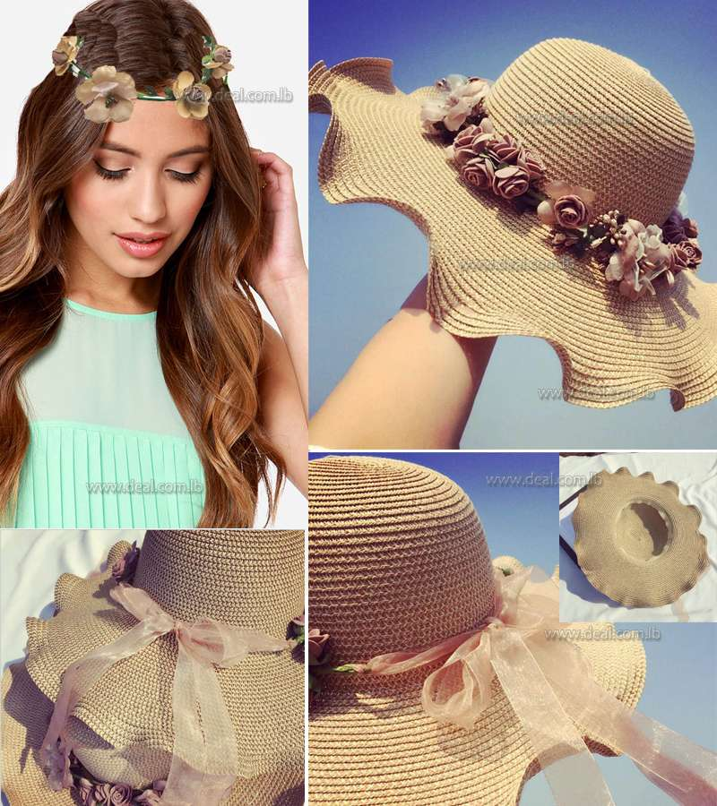 Dark Colored Straw Sun Hats For Women Cap Girls Beach Floppy Summer Cap For Ladies Straw Flower Long