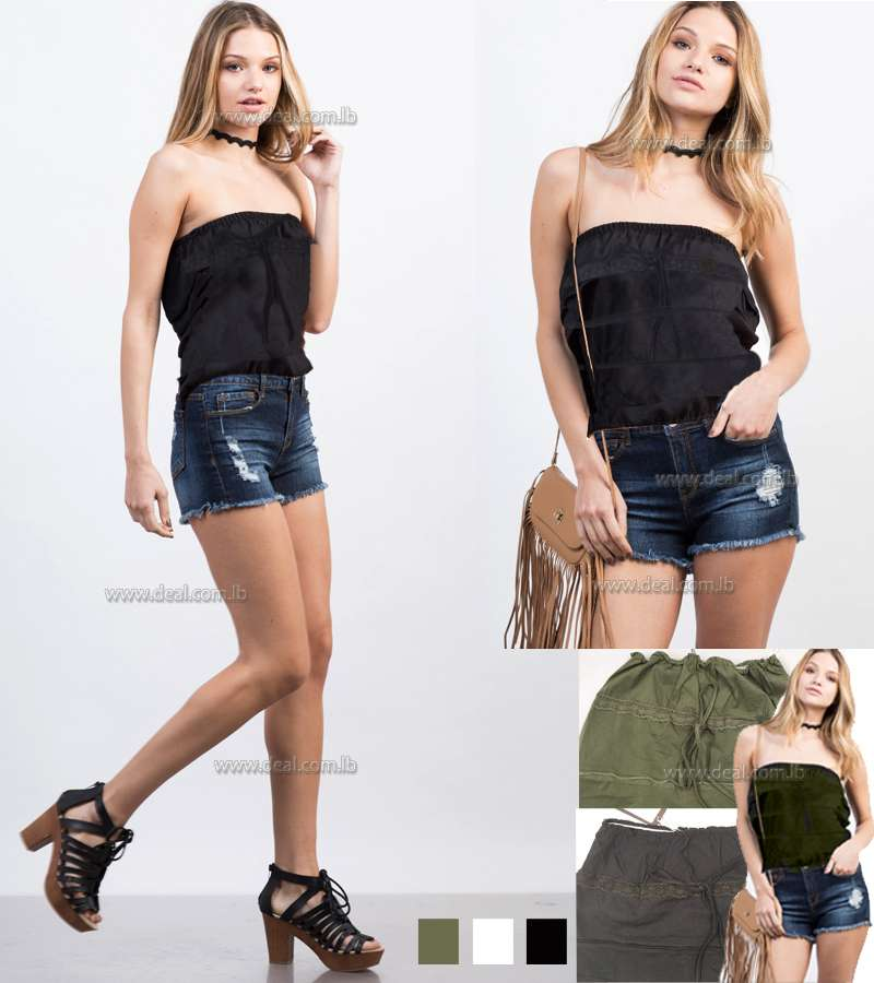 Ruffled Strapless Cropped Top