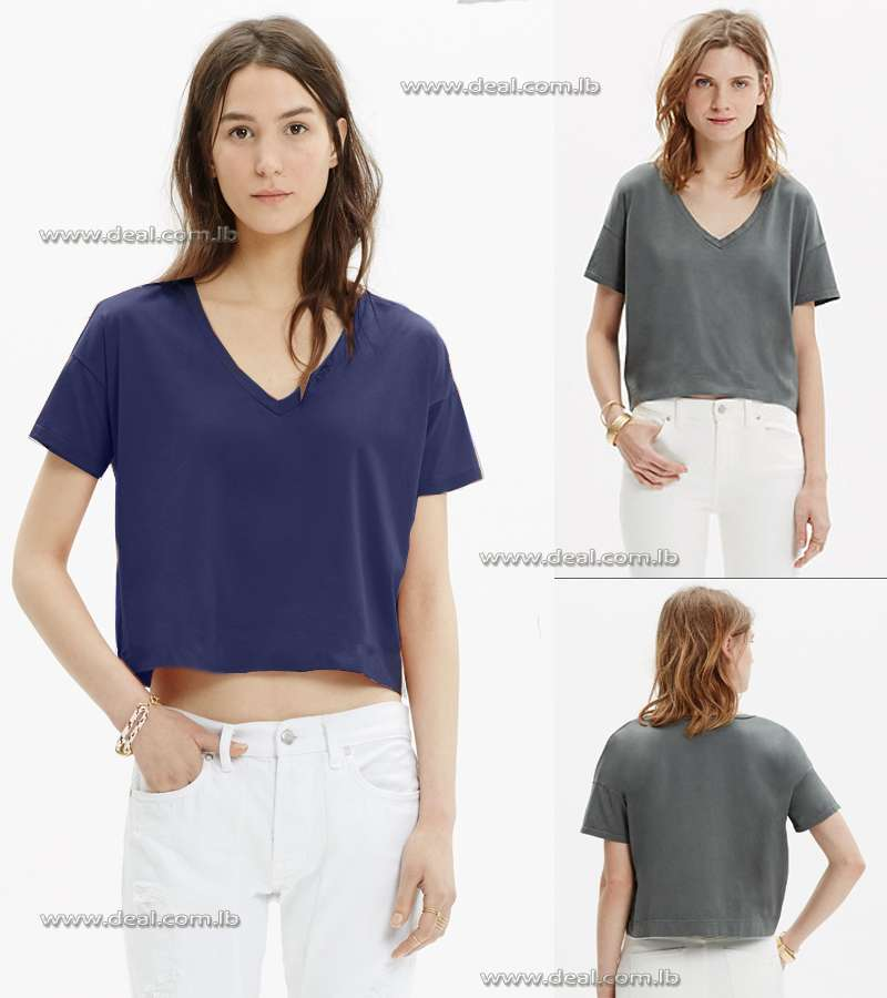 madewell luster cotton v neck crop tee