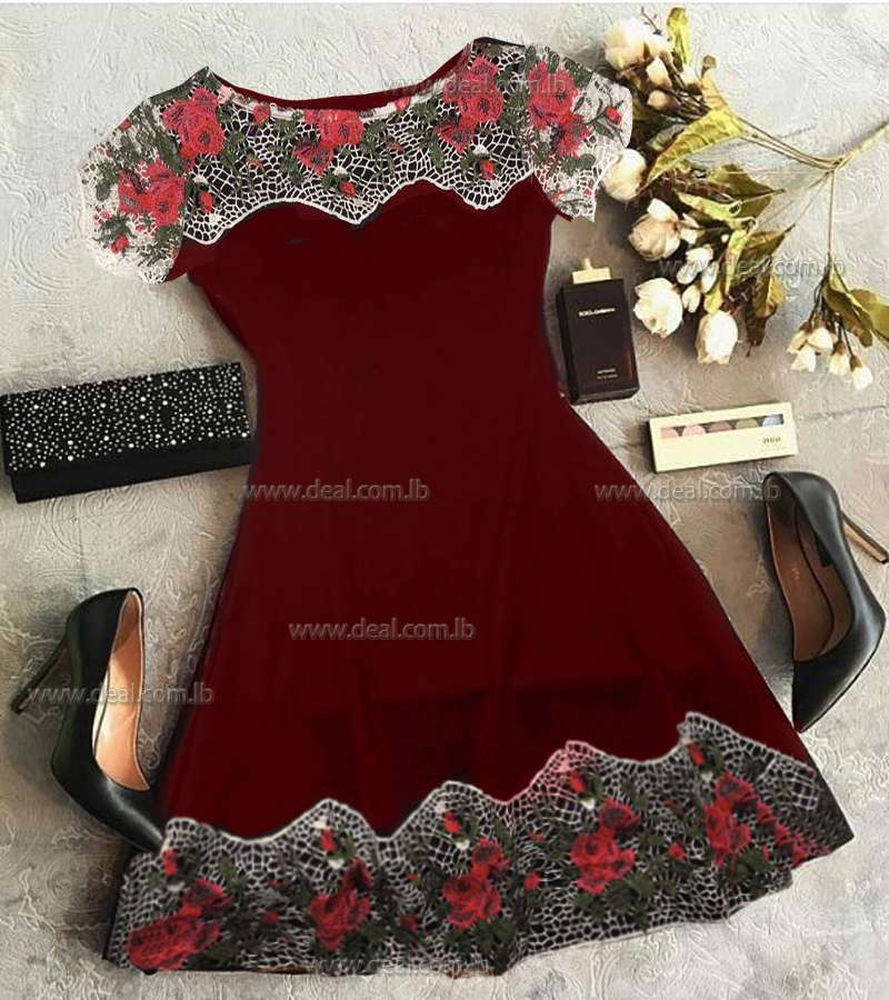 Dark Red Short Dress with flowers