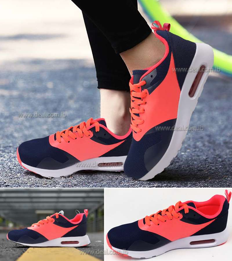 Dark Blue and Orange Womens Increased Within Sneaker Trainers Platform Air Cushion Jogging Sports Shoes