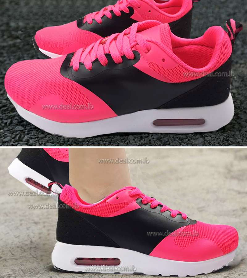 Fushia and Black Womens Increased Within Sneaker Trainers Platform Air Cushion Jogging Sports Shoes