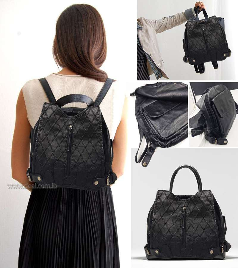Travel Women Leather Backpack Girls Outdoor Satchel Shoulder  Bag Black