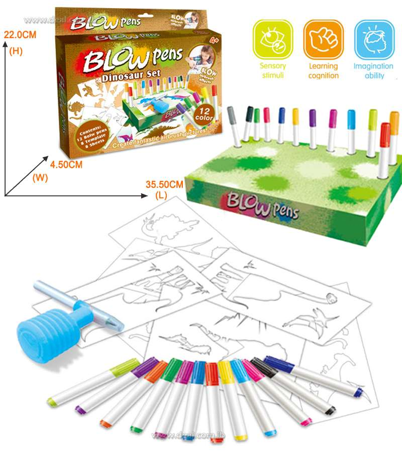 Blow Pens Dinosaur set 12 colors