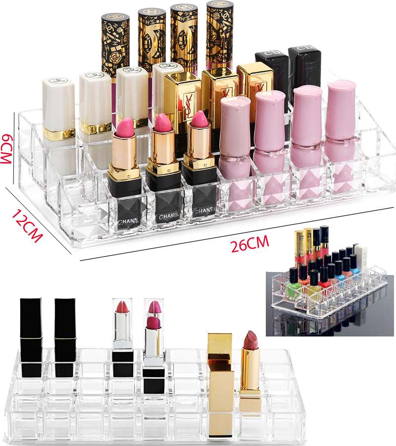 Makeup 36 Lipstick Grid Acrylic Display Storage Rack Holder Cosmetic Organizer