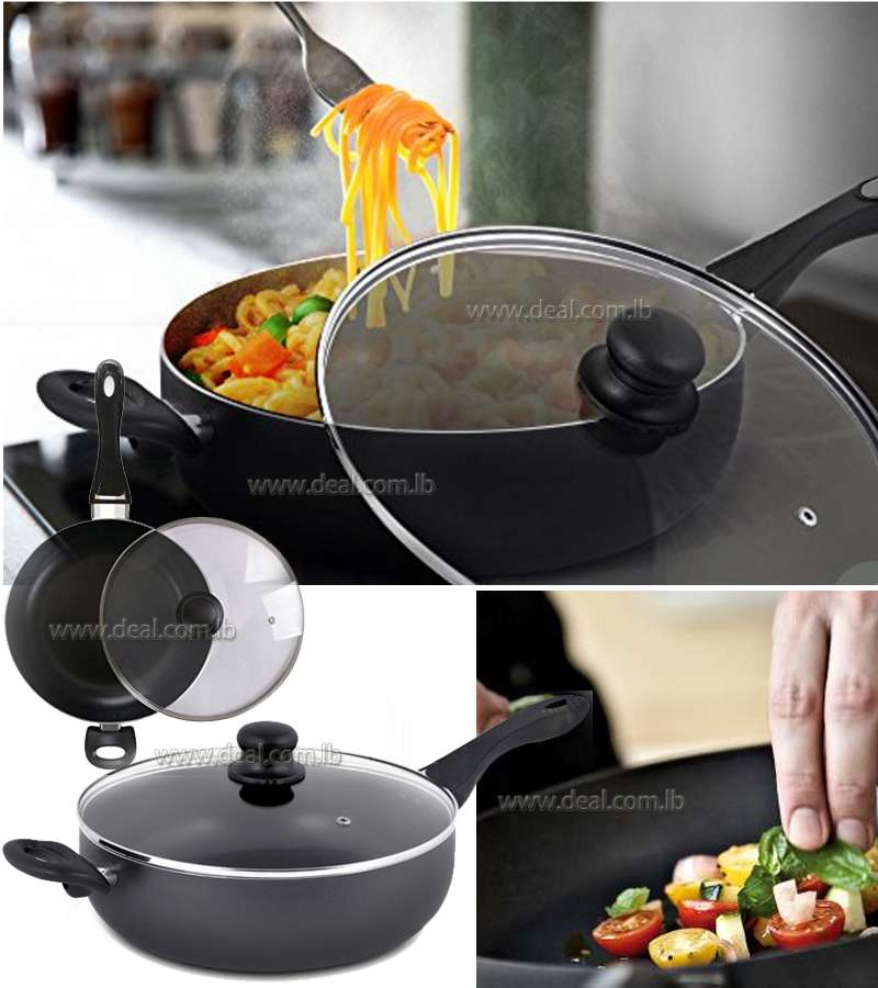30cm/11.8in Non-stick deep fry pan with glass lid