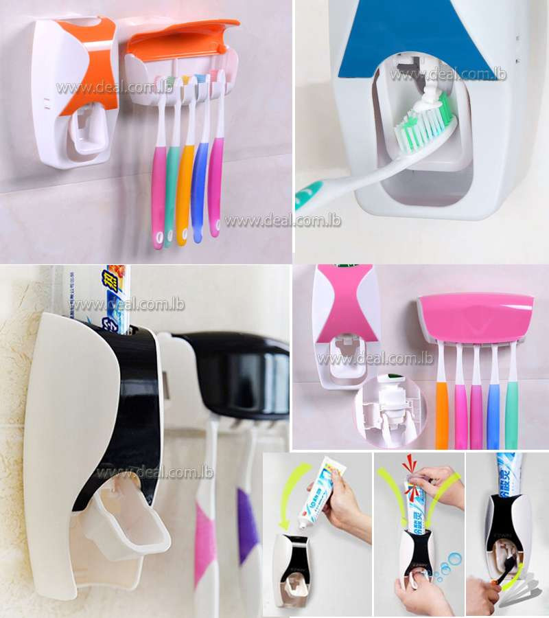 Automatic Toothpaste Squeezing Device Toothbrush Holder Home Use Bathroom Set