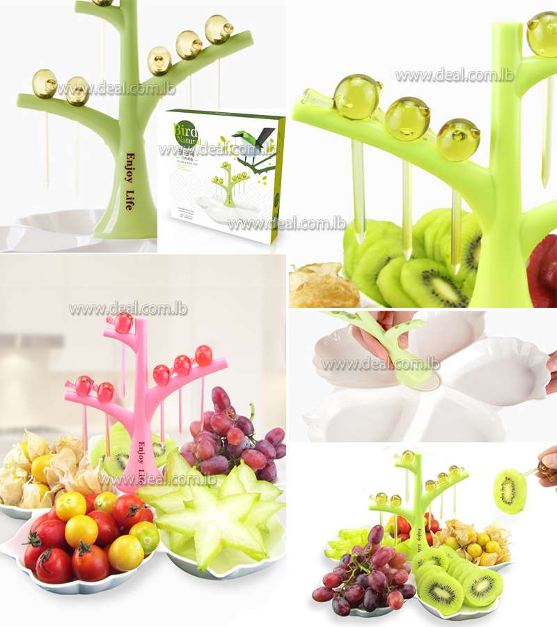 Home+Tableware+Creative+Design+Plastic+Fruit+Dessert+Compote+Vase+With+Cuckoo+Toothpick
