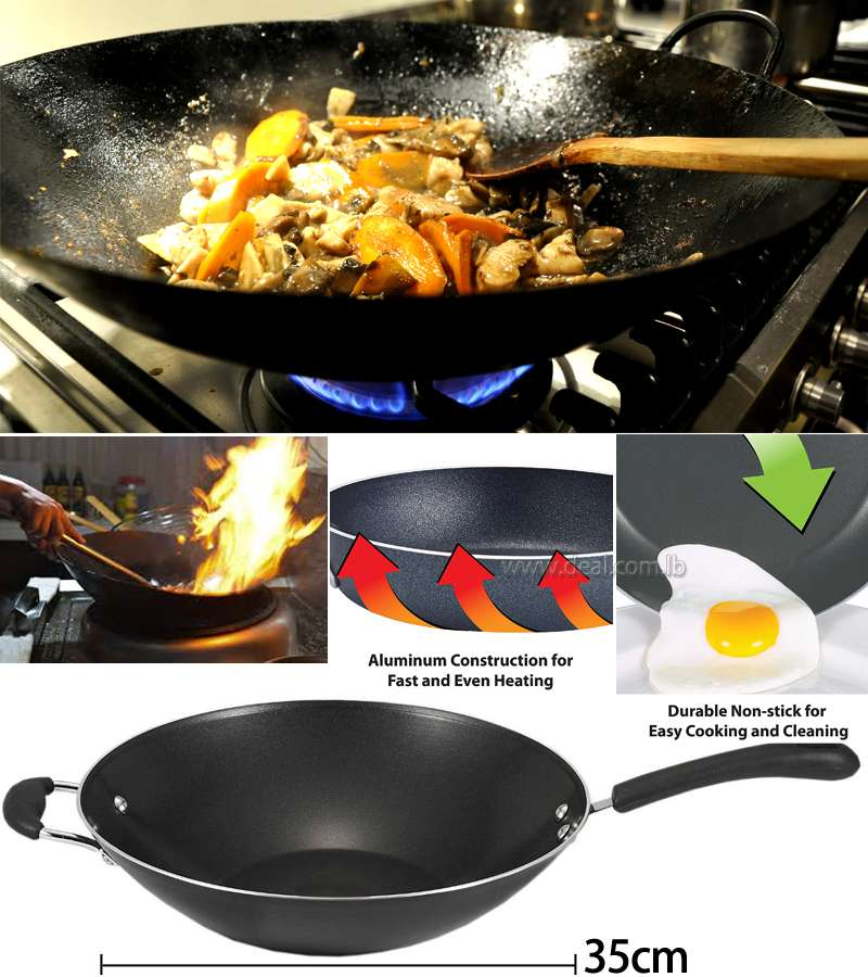 35cm Specialty Nonstick Dishwasher Safe Oven Safe PFOA-Free Jumbo Wok Cookware