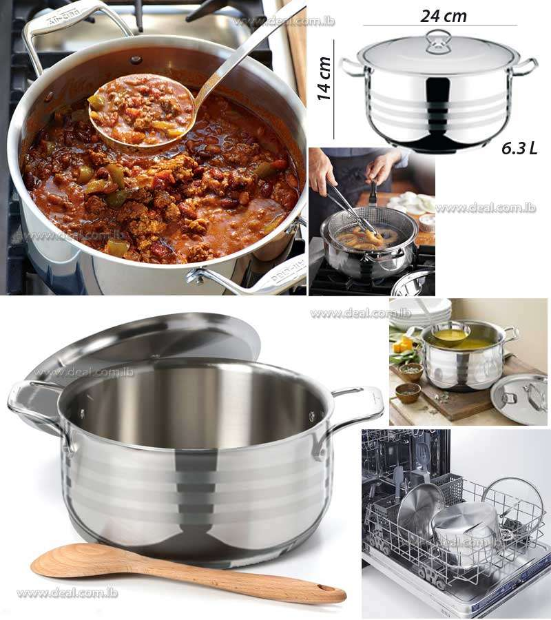 Stainless Steel Deep Pot Viola 6.3L