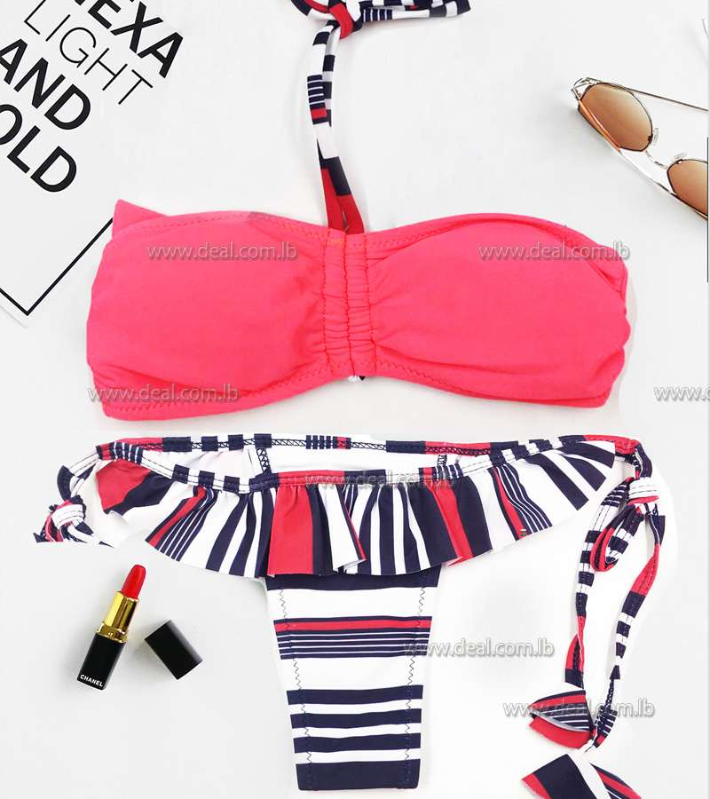 stripped red summer beach swimsuit children