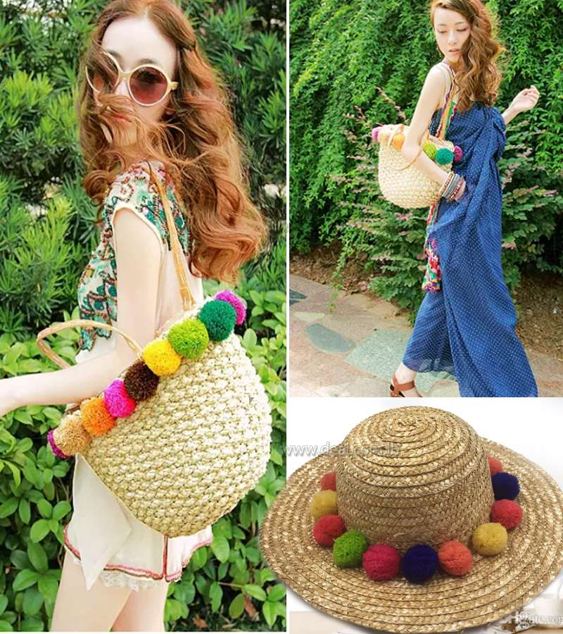 Women Summer Colorful Balls Shoulder Bags Pom-Pom Straw Bags Women Beach Handbags