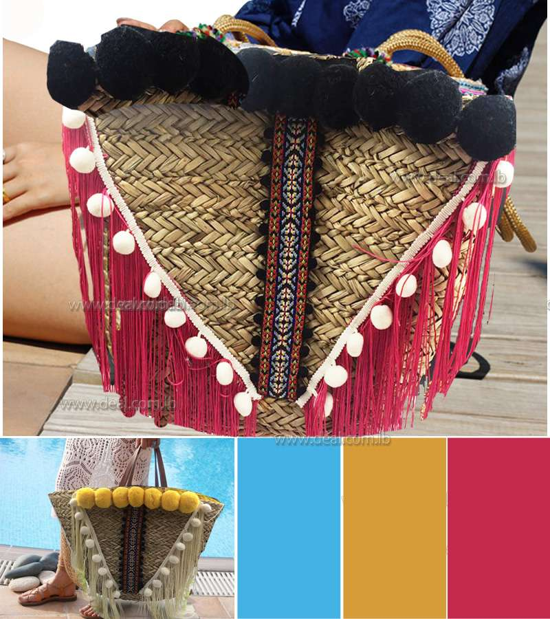 Straw l Fashion Ladies Handbags Fringed Shoulder Bag Woven Straw Bag Beach Bag with tasselis
