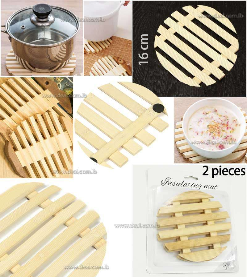 2 pcs Mat Pot Pad Strip Bamboo Mat Heat Insulation Plate
