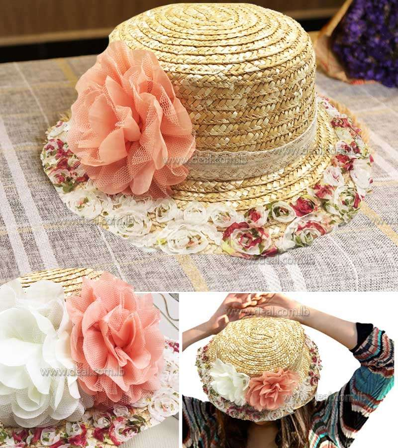 floral Women Sun Hats Sweet Colorful Flowers parent child tassel Straw hats Girls Vintage Beach