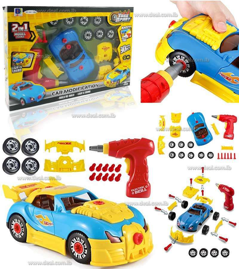Toys Bhoomi 2 in 1 Build Your Own Take Apart Racing Car Modification Playset