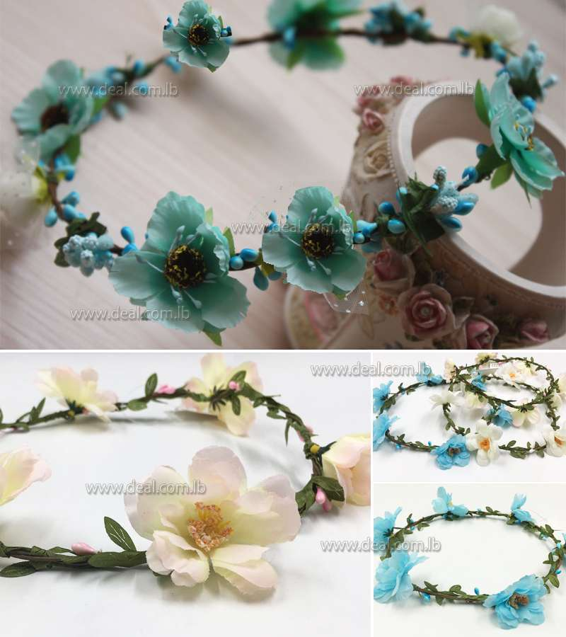 Colored flowers summer beach crown blue and white