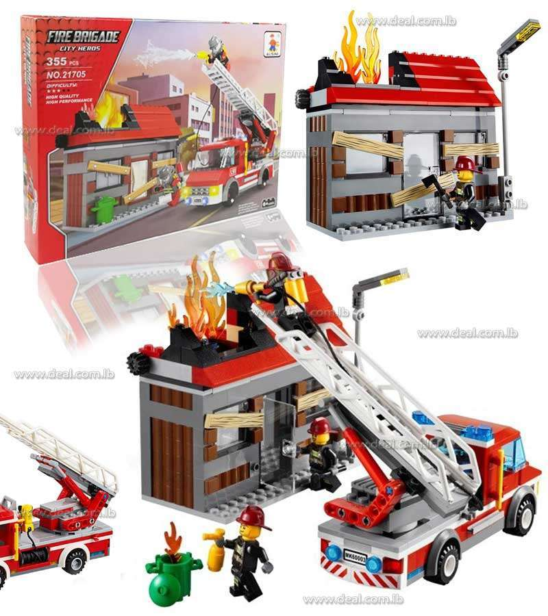 An abandoned house is in flames and only Lego City firefighters