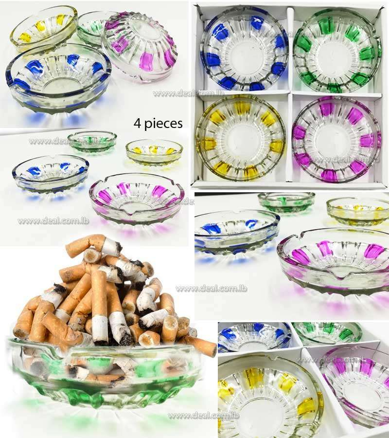 Set Of 4 Pieces Ashtray Glass Colorful