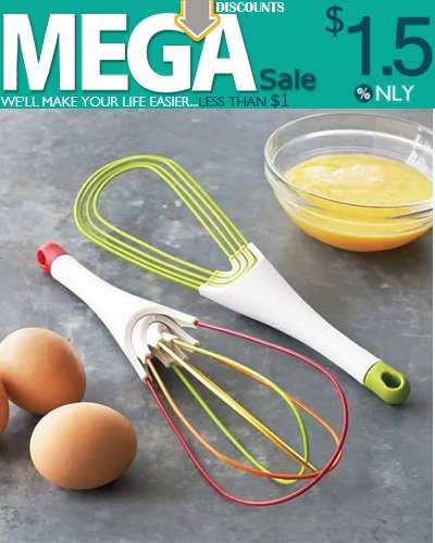 2-in-1 Rotating Silicone Twist Milk and Egg Beater