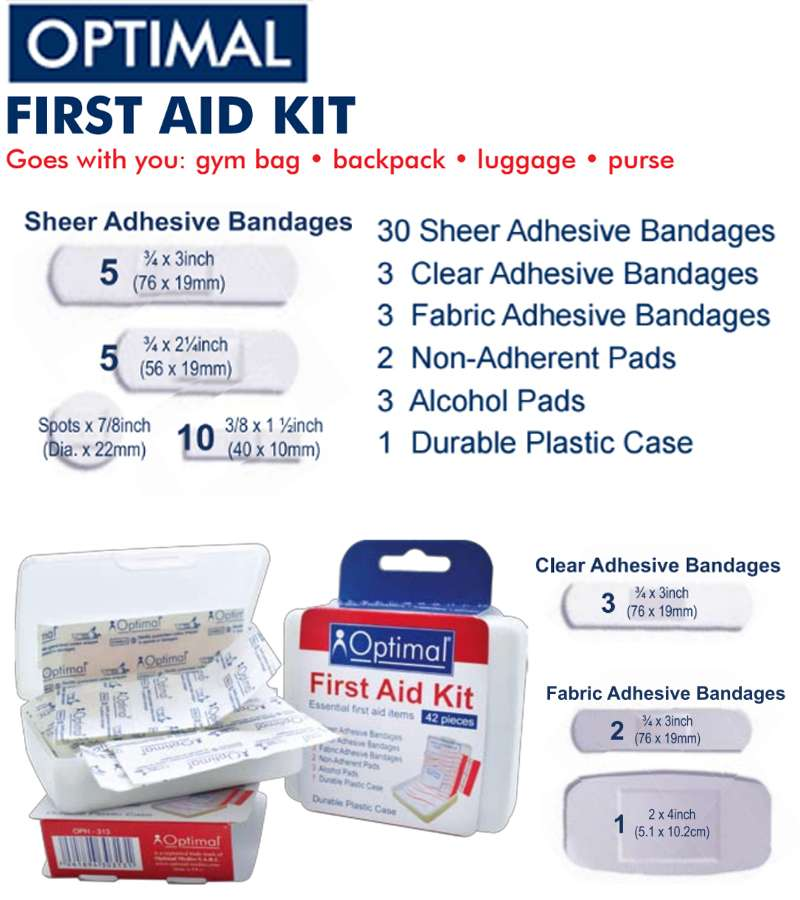Optimal First Aid Kit Essential first aid items (42 PCS )