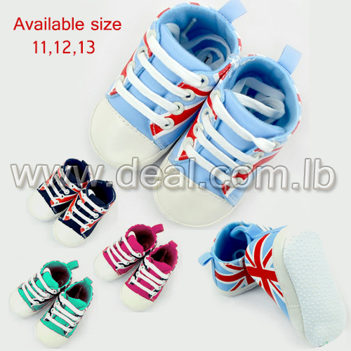 Fancy British Flag Leather Girls Shoes Rubber